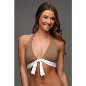 Tommy Bahama Taupe Deck Piping Halter Bikini Top